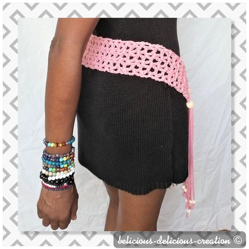 pink crochet belt