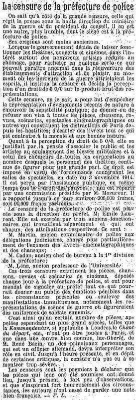 Cencuse Le Temps 15 03 1915
