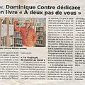Dominique contre dédicace son livre