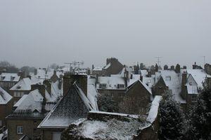 Avranches neige samedi 30 mars 2013 église Saint-Saturnin Notre-Dame des Champs