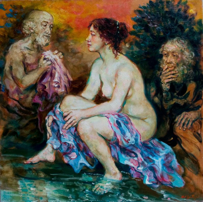 Suzanne et les vieillards. Huile sur toile par Walter Spitzer