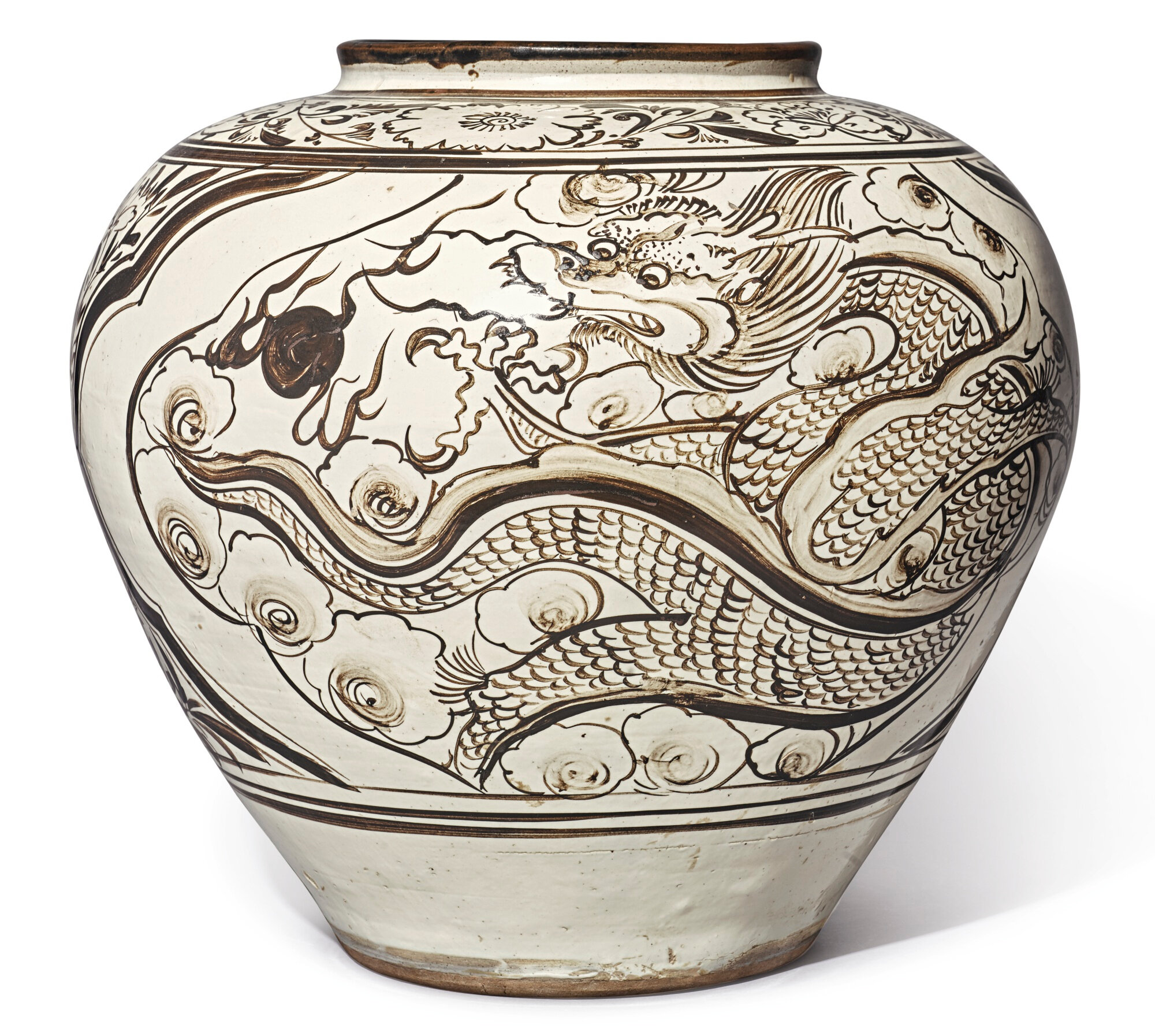 A large painted 'Cizhou' 'dragon and phoenix', Yuan-Ming dynasty (1279-1644)
