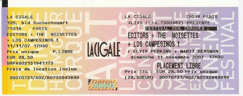 2007 11 Les Inrocks Cigale 02 Billet