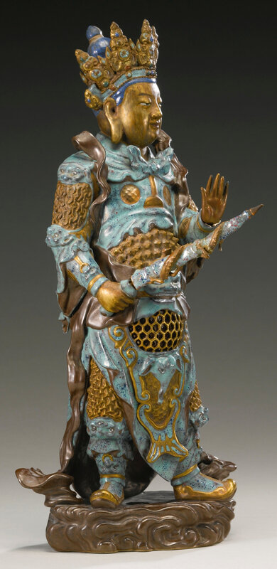 An enamel and gilt-decorated porcelain figure of Weituo, Qing dynasty, 18th-19th century3