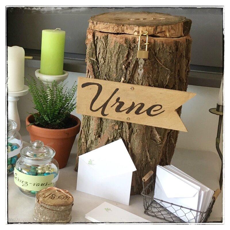 urne mariage tronc arbre