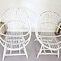 Fauteuils rotin vintage white