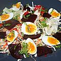 Salade croquante betterave et oeufs