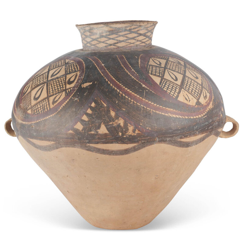A large painted pottery jar, Neolithic period, Majiayao culture, 3rd millenium BC