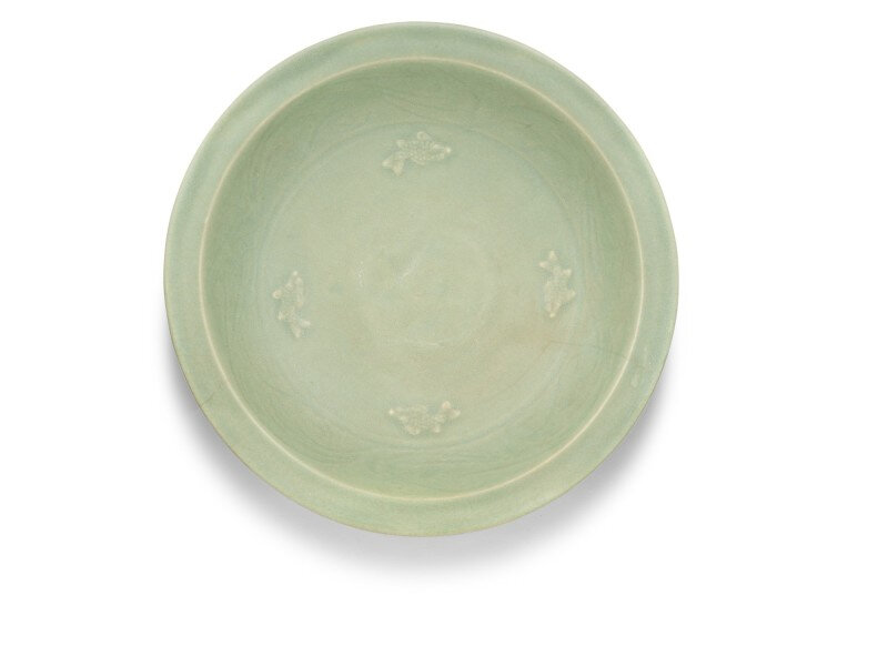 A large Longquan celadon 'fish' dish, Early Ming dynasty
