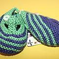 chaussons garçon rayés encre vert