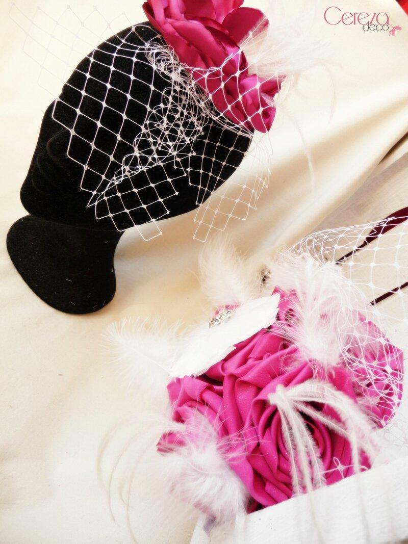 voilette bijou de tête cheveux mariage fleur blanc strass cabaret fuchsia plumes cereza deco 14