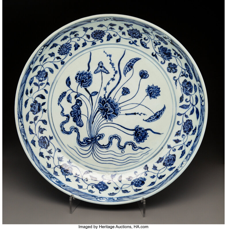 A Large Chinese Blue and White Porcelain Dish, Ming Dynasty, Yongle Period, circa 1403-1424