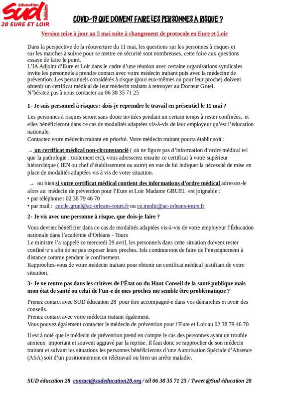 Personnes à risque COVID 19 en Eure et Loir mise à jour le 6 mai page1