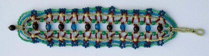 Bracelet tissage de perles Bleu-Bordeaux-Vert pâle LONG