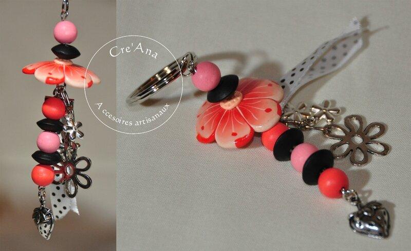 Porte-clé fleur corail