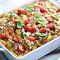 Gratin de pâtes, poulet et légumes à la cancoillotte