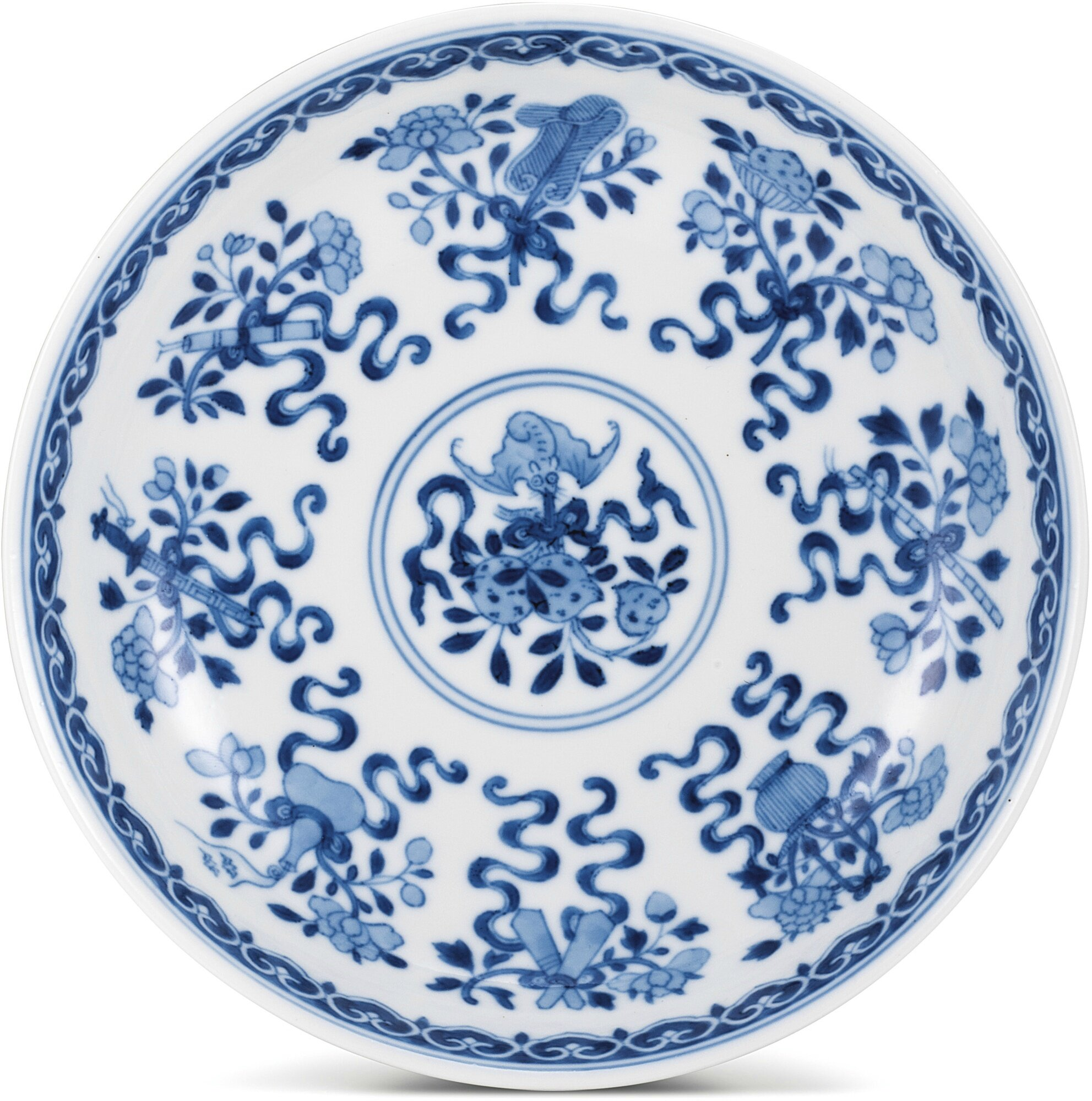 A blue and white 'Bajixiang' dish, seal mark and period of Qianlong (1736-1795)