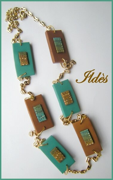 fimo collier pixels turquoise chocolat 1