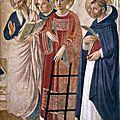 1443 (ca) FRA ANGELICO : trois saints, détail de fresque - San Marco, Florence