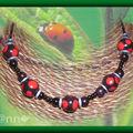 Collier Fimo pois noir et rouge (N)