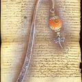 Marque-page libellule et perle Fimo multi orange anis (N)