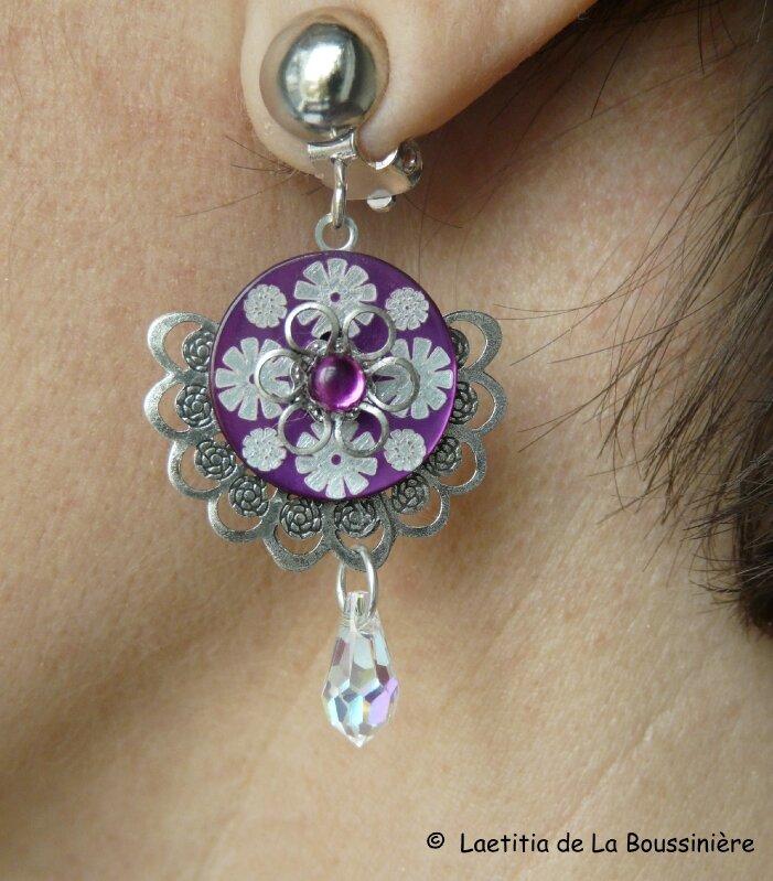 Boucles d'oreilles Eventail (violet)