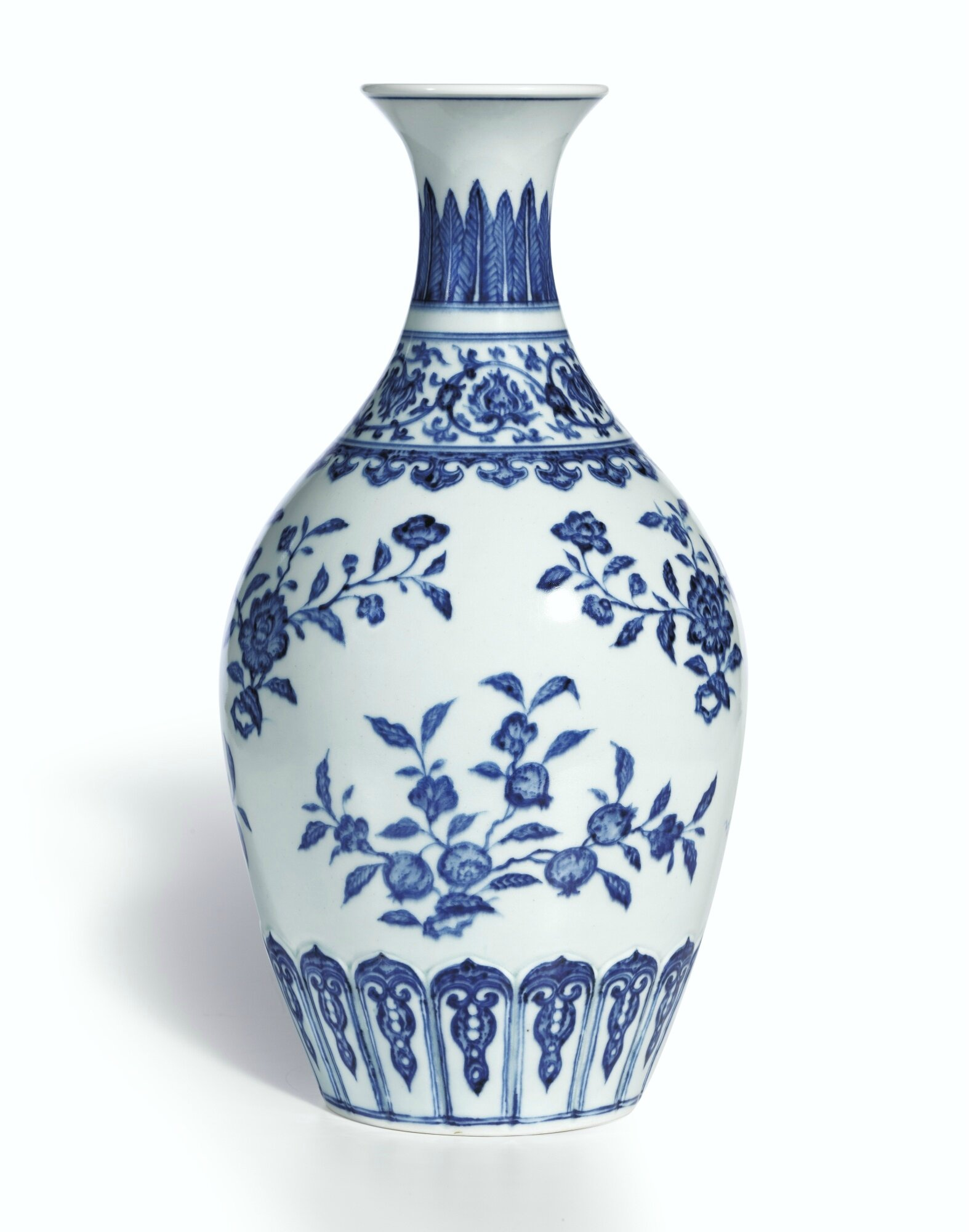 a superb ming style blue and white vase mark and period of yongzheng 1723 1735