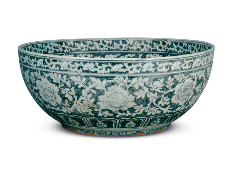 A large bowl decorated in underglaze copper red, Hongwu period (1368-1398, in the collection of the Palace Museum, Beijing