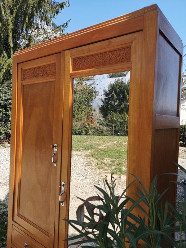 Ancienne armoire GRAND miroir et 3 tiroirs. instagram / LA CAPUCINE BLEUE brocante en ligne - livraison sur toute la France - rhone alpes Bugey Belley