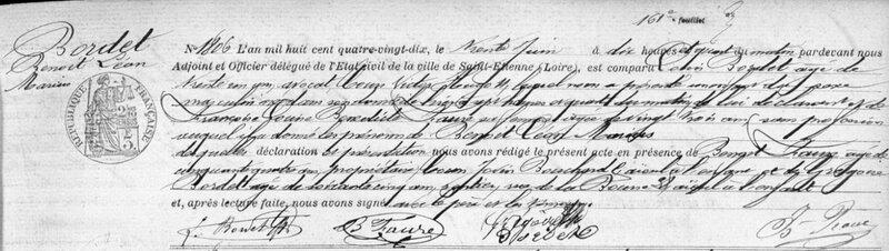 acte de naissance de Léon Bordet, 29 juin 1890