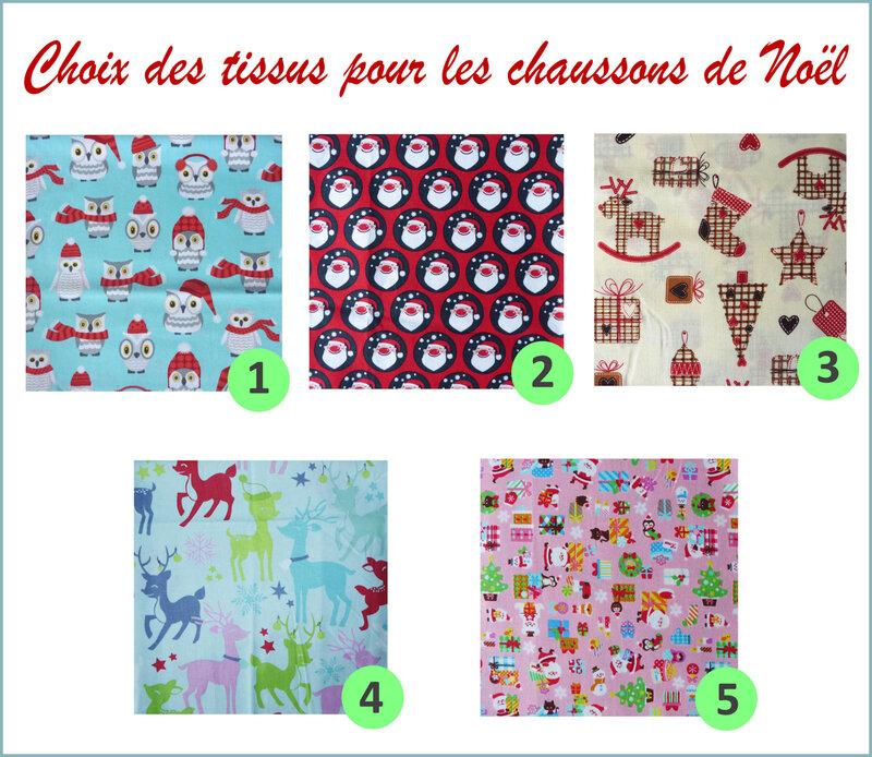 Choix des tissus pour chaussons de Noël 1
