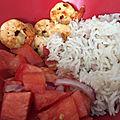 Gourmandises du dimanche :- riz sauté aux crevettes et salsa tomates pastèque