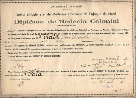 diplome medecin colonial