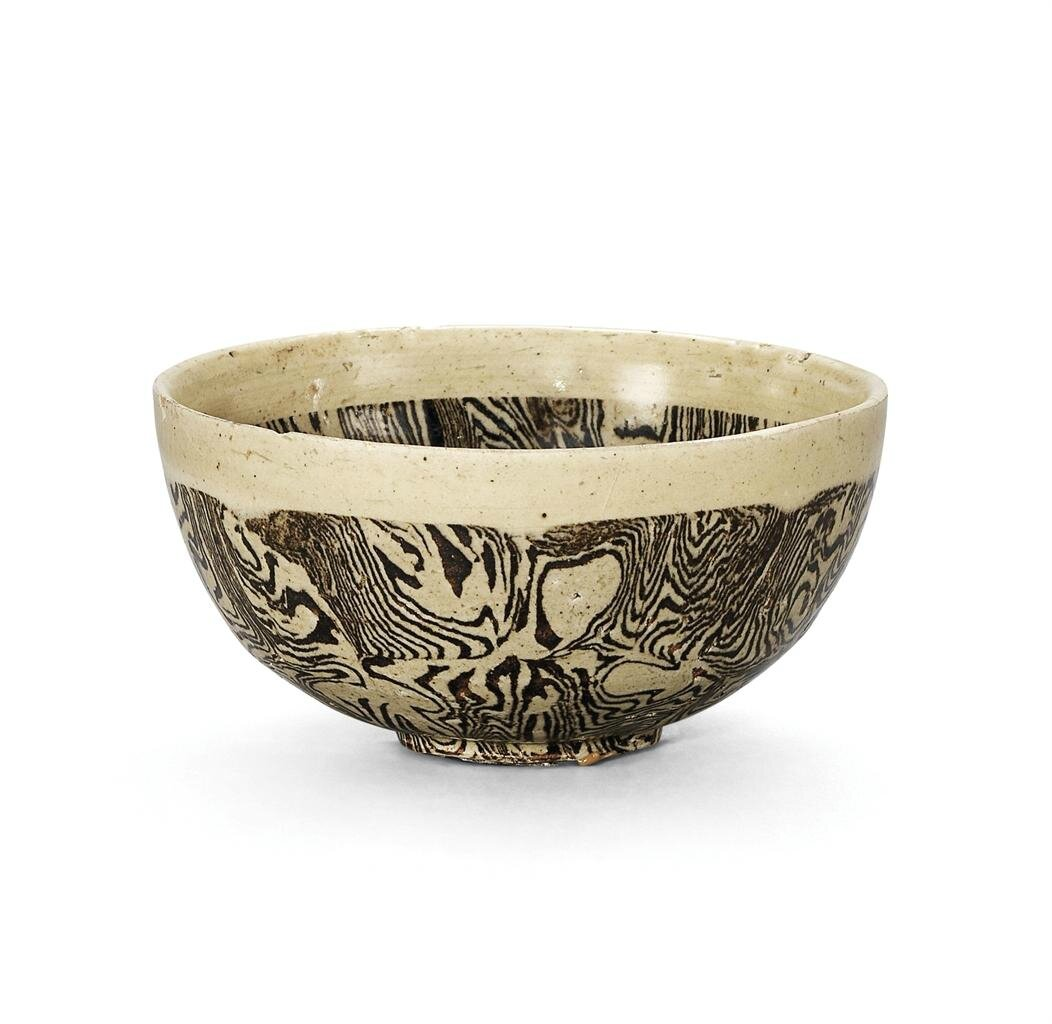 A Cizhou white-rimmed marbled bowl, Northern Song-Jin dynasty (960-1234)