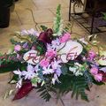 Décor de capot dendrobiums roses et anthuriums