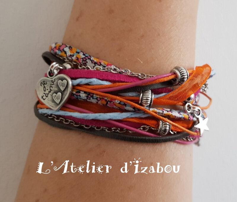 20180503_111103 bracelet Je t'aime fête des mères multicolore multimatières