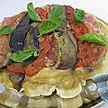 Tarte tatin au rouget, tomate et aubergine