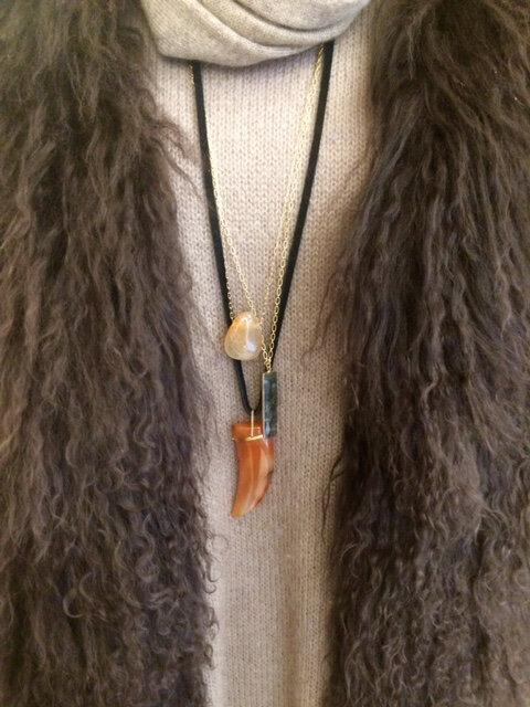 colliers plaqué or cornaline quartz pierre semi pécieuses bijoux homemade boutique Avant Après Montpellier