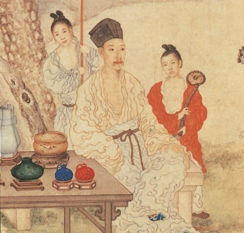 Giuseppe Castiglione, Hungli Looking at Paintings, detail, colour on paper, hanging scroll, Qing dynasty, Qianlong period, Palace Museum, Beijing