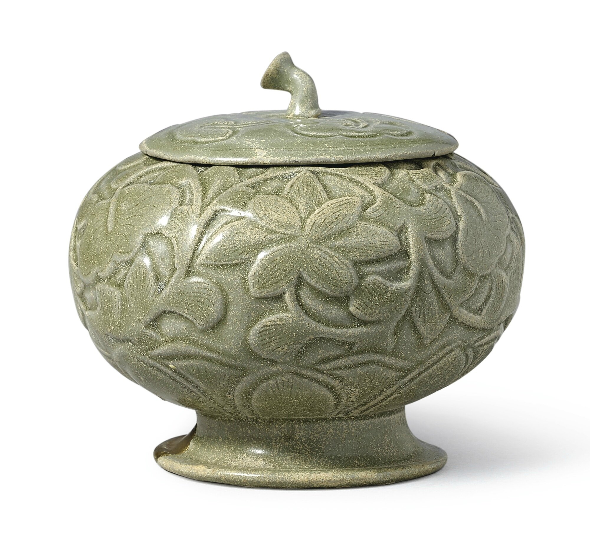 A rare 'Yue' carved celadon globular 'floral' vessel and cover, Five Dynasties (907-960)