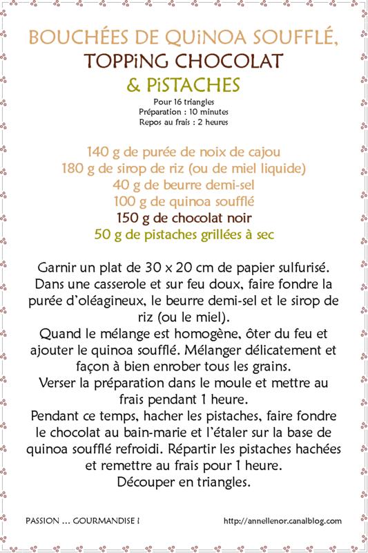 Bouchées de quinoa soufflé, topping chocolat & pistaches_fiche