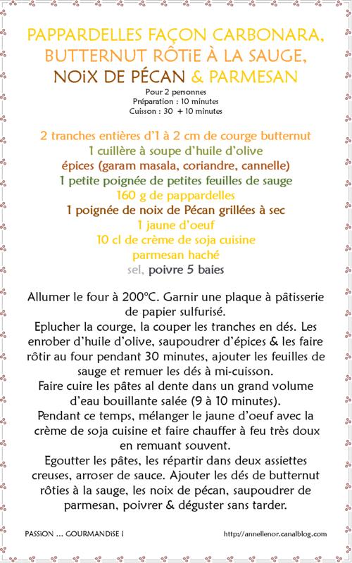 Pappardelles façon carbonara, butternut rôtie à la sauge, noix de Pécan & parmesan_fiche