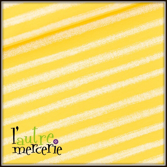 Chalk Stripes French Terry Habanero Yellow 01b