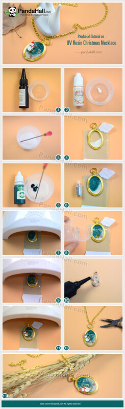 4-PandaHall-Tutorial-on-UV-Resin-Christmas-Necklace