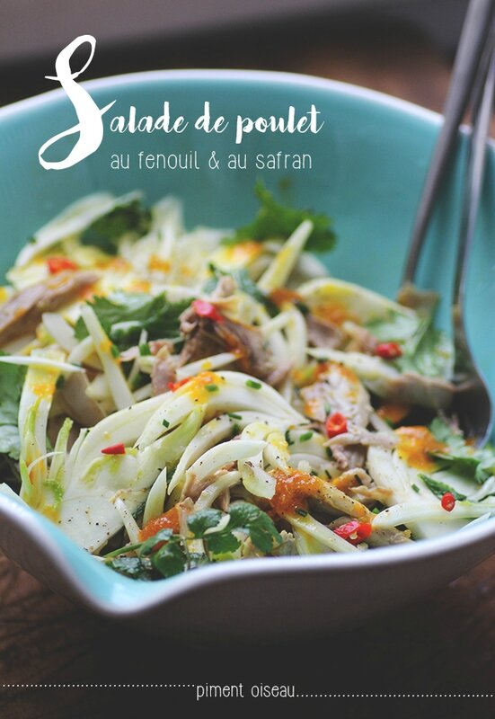 salade de poulet au fenouil et au safran - chicken and fennel salad with saffron sauce