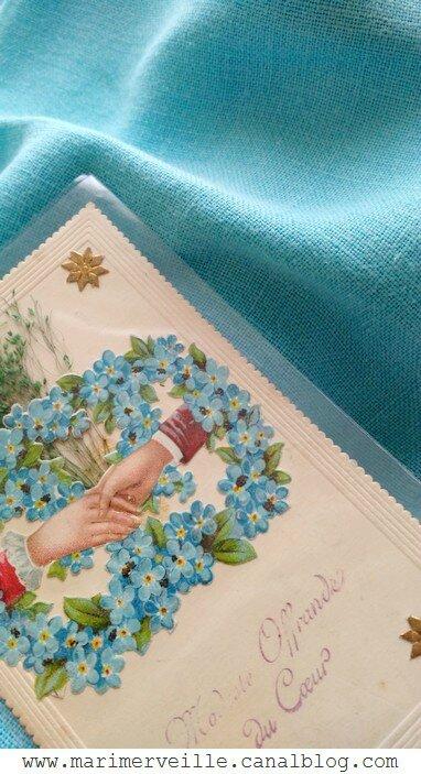 pièce de lin turquoise et carte chinées - Marimerveille