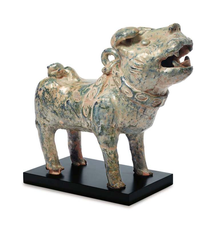 A green-glazed red pottery figure of a dog, Han dynasty (206 BC-AD 220)