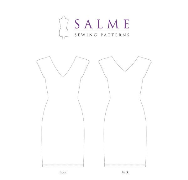 Salme Patterns - V-Neck Cap Sleeve Dress