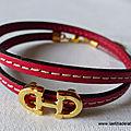 Bracelet Cavalière doré double (rouge) - 24 €