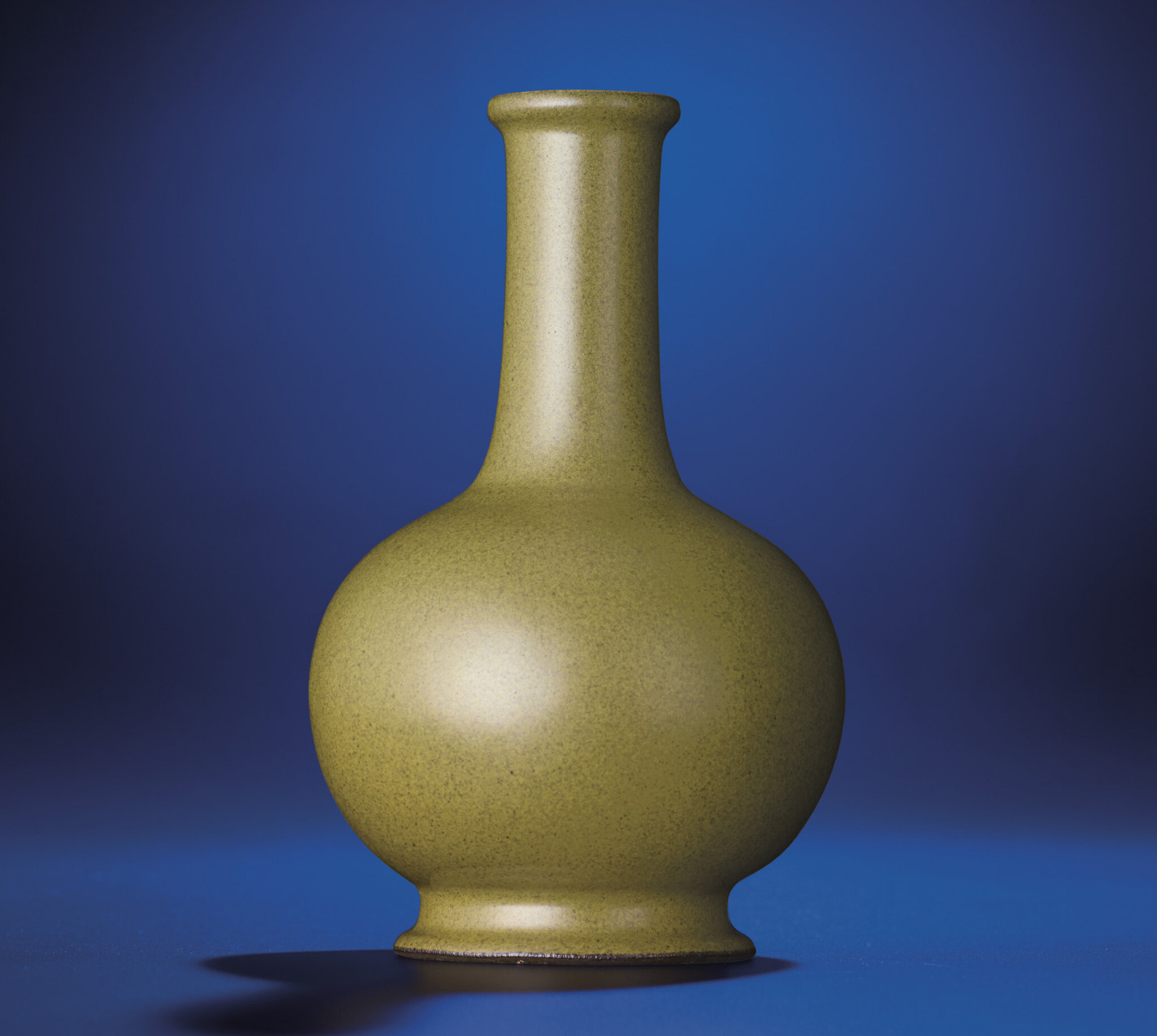 A fine 'eel-skin' glazed bottle vase, Qianlong impressed six-character seal mark and of the period (1736-1795)